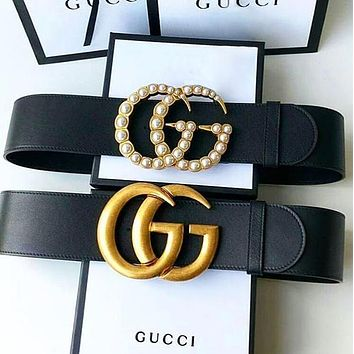 GG Men Woman Fashion Smooth Buckle Leather Belt