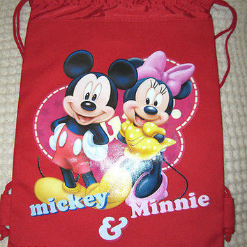 MICKEY MOUSE & MINNIE MOUSE RED DRAWSTRING BAG BACKPACK TRAVEL STRING POUCH -NEW