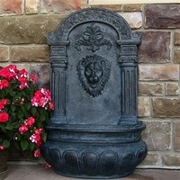Outdoor Classics Imperial Lion Solar Wall Fountain