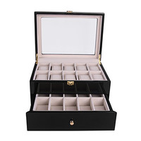 Walcut 20 Slot 2-Tier Wood Watch Box Jewelry Collection Display Wooden Case Holder Storage (black)
