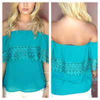 Teal Eyelet Lace Top