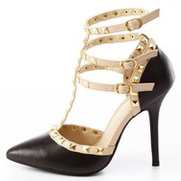Studded Strappy Pointed Toe Pumps by Charlotte Russe - Black