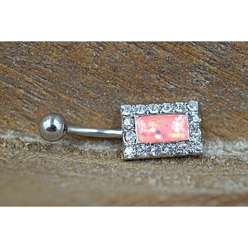 Pink Opal Belly Button Ring Square Opal Navel Ring Glitter