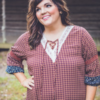 PLUS SIZE: Colonial Williamsburg Dress in Brown and Blue