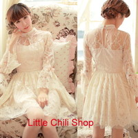 Pretty Kawaii Princess Cute Sweet Dolly Lolita Slim Long Sleeve Lace Dress