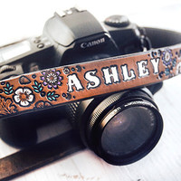 Custom Leather Camera Strap  Floral pattern Lavender by MesaDreams