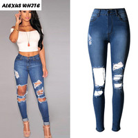 High Waisted Stretch Jeans Women 2017 Hole Slim Pencil Pants Ladies Skinny Ripped Denim Trousers