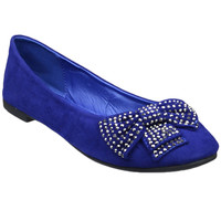 Womens Faux Suede Studded Bow Ballet Flats Blue