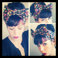 Black Pink and Yellow Green Floral Flowers Headwrap Bandana Hair Bow 1940s 1950s Style