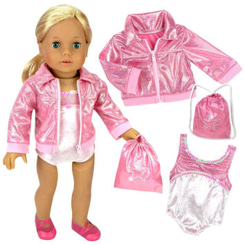 Doll Clothing for 18 Inch Doll Gymnastics 3 Pc. Set Fits 18 Inch American Girl Doll Clothes & More! Pink Leotard, Jacket & Gym Bag in Pink by Sophia's