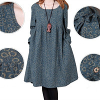Floral Long-Sleeve Maternity Dress Cotton/Linen Clothes for Pregnant Women Autumn Clothing for Pregnancy 2015 New Fashion 1345 = 1946081540