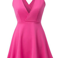 Pink V-Neckline V-Back Sleeveless Skater Dress