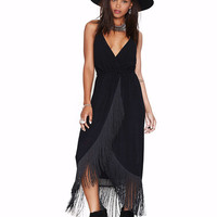 V-neck Spaghetti Strap Shirtwaist Fringed A-Line Maxi Dress