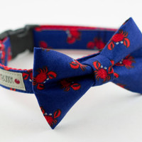 Red Crab Dog Bowtie Collar