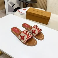 Louis Vuitton LV Women's Popular Summer Flats Slipper Sandals Shoes 051
