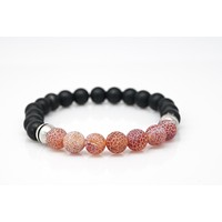 Black Onyx and Agate Gemstones Beaded Bracelet for Men and Women