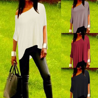 New Fashion Women's T Shirt Irregular Hem Batwing Tops Loose Boat Neck shirt Personality Tees Size S-XXL = 1956807364