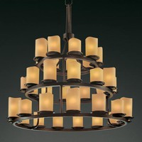 Justice Design Group CNDL-8712-14-AMB-DB CandleAria Dakota Thirty-Six-Light Three-Tier Ring Chandelier