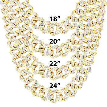 11mm Gold Tone Miami Cuban Choker Square Link Necklace