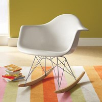 The Land of Nod: Adult Seating: White Retro Rocker Nursery Chair in Rockers & Gliders