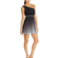 Speechless Juniors One Shoulder Ombre Party Dress with Stones, Black/Silver, 9