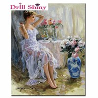 5D Diamond Painting Tulle Skirt Woman by the Table Kit