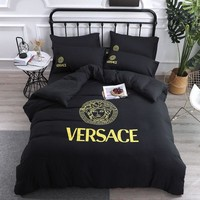 Black Soft Cotton VERSACE Bedding Blanket Quilt Coverlet Pillow shams 4 PC Bedding Set