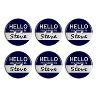 Steve Hello My Name Is Plastic Resin Button Set of 6
