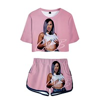 Women Outfits 2019 2 Piece Women Cardi B Pink Outfit 3D Print T-Shirt Women's Suit Shorts Summer 2 Piece set Top Ensemble Femme