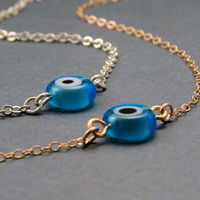 Tiny Evil Eye Jewelry, Evil Eye Necklace in Silver or gold, evil eye on chain, small