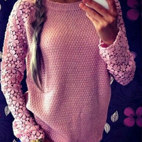 Floral Lace Knitted Sweater