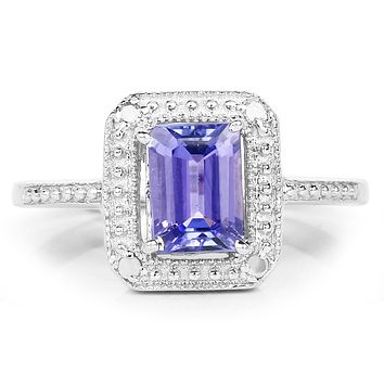 A 1.16CT Genuine Tanzanite and Ethically Mined White Diamond Halo Ring