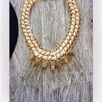Glass Lights Necklace- Gold