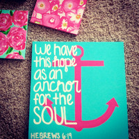 24 x 24 Hand Painted Anchor Canvas with by CraftingCollegeGirl