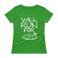 Will Run For Pizza Running Racerback T-shirt