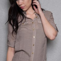 ICY Drops Of Gold Roll Sleeve Button Up Top - Mocha