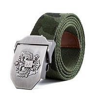 Unisex Russian National Emblem Canvas Tactical Belt High Quality Military Belts For Mens & Women Luxury Patriot Jeans Belt