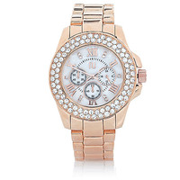 River Island Womens Rose gold tone gem encrusted watch