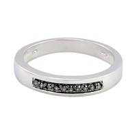 Sterling Silver .10 ct Black Diamond Ring 4mm Band