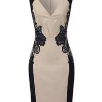 LITTLE MISTRESS - Cream and navy lace dress