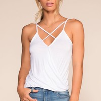Beach Life Calling Crisscross Top - White