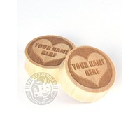 Custom Sweetheart Engraved Wood Plugs