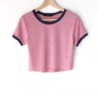 Striped Crop Ringer Tee - Pink/Grey