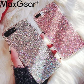 MaxGear Case for iPhone 6 6S Case Silicon Bling Glitter Crystal Sequins Soft Cover Fundas for iPhone 5SE 5S 7 8 Plus X XR XS Max