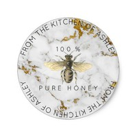 Homemade 100 % Honey From The Kitchen Marble Round Sticker