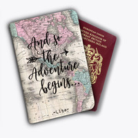 And So Adventure Begins World Map Leather Passport Covers