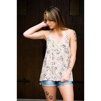 Got Your Attention Tank- Animal Print Taupe