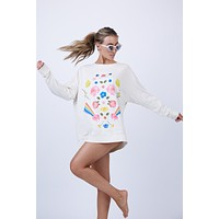 Daydream Roadtrip Sweater - Vintage Lace White
