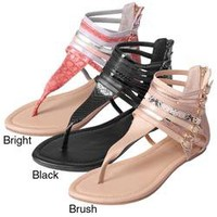 Journee Collection Women's 'Milly-1' Mixed Print Strappy T-strap Sandals   Overstock.com