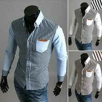 New Stripe Design Men's Fashion Slim Fit Dress Shirt
